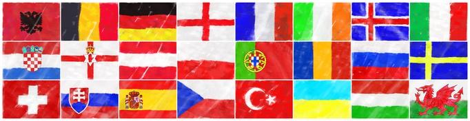 Fuball Europa 2016 Flaggen alphabetisch